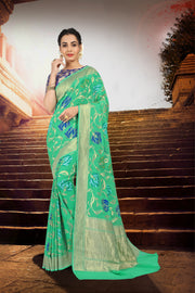 SIGNORAA SEA GREEN BANARASI GEORGETTE SILK SAREE-CHG03285 - VIEW 1