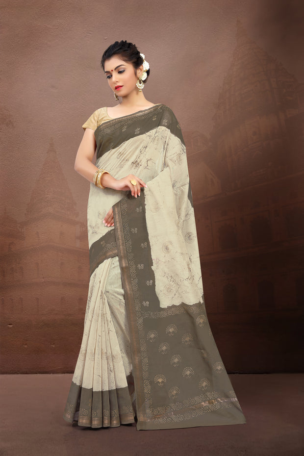 SIGNORAA BEIGE FANCY MAHESHWARI COTTON SAREE-FCT08825 - VIEW 1