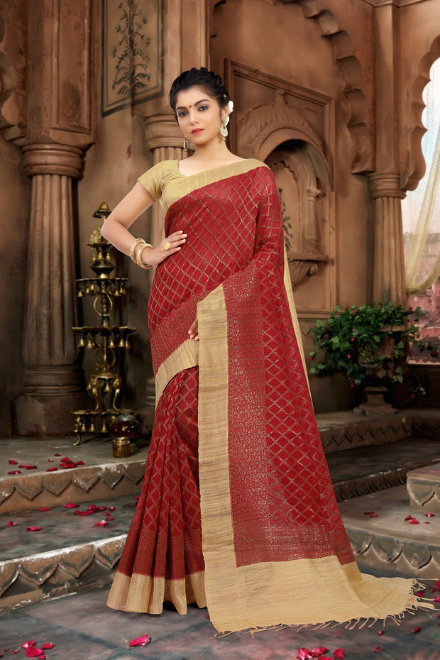SIGNORAA RED BANARASI TUSSAR SILK SAREE-BSK07788 - View 1