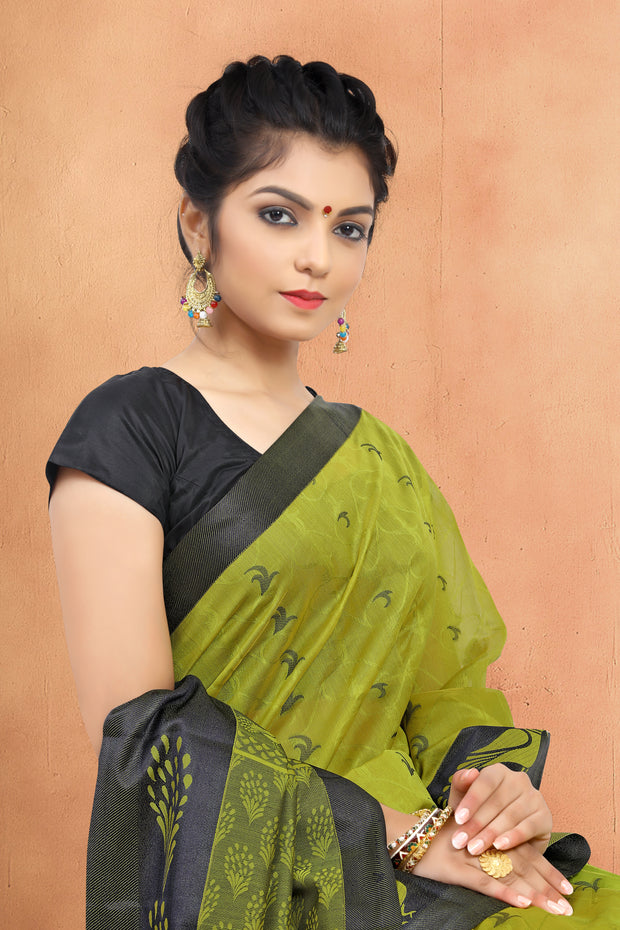 SIGNORAA MEHENDI GREEN  SILK COTTON SAREE-CCC01454 - VIEW 2