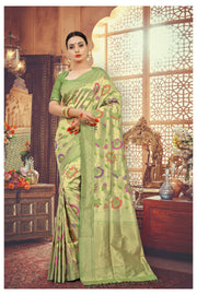 SIGNORAA GREEN BANARASI SILK SAREE-BSK07828 - View 1
