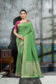SIGNORAA GREEN BANARASI SILK SAREE-BSK07071 - View 1