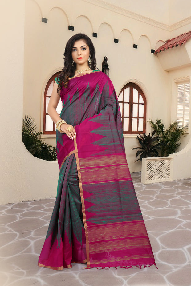 SIGNORAA SHOT RANI PINK KANCHIPURAM SOFT SILK SAREE-KSL02521-View 1