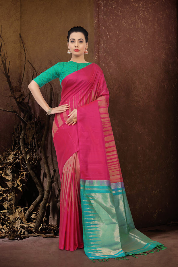 SIGNORAA RANI PINK KANCHIPURAM SOFT SILK SAREE-KSL02515 - View 1