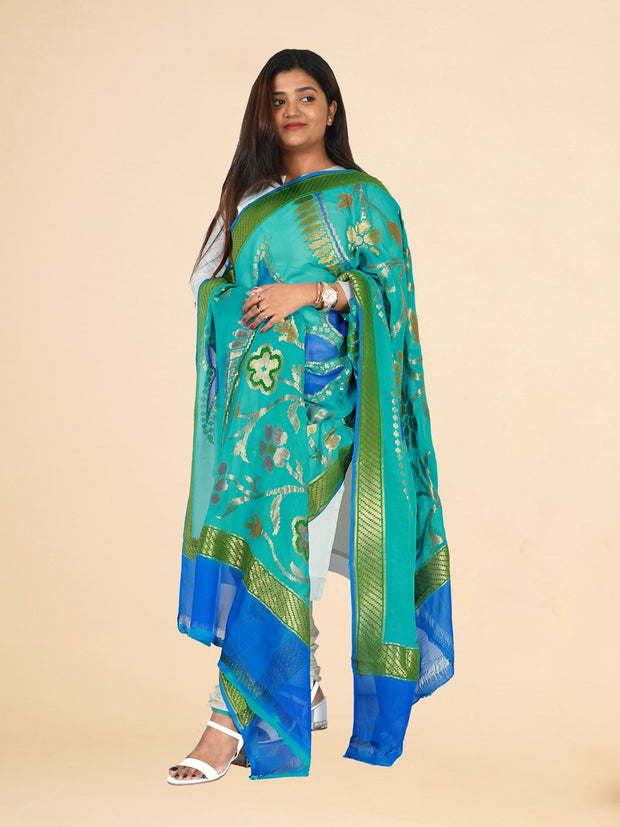 Signoraa Light Blue Banarasi Georgette Dupatta-PDU01121 - View 1