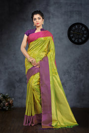 SIGNORAA SHOT GREEN KANCHIPURAM SOFT SILK SAREE-KSL02394 - View 1