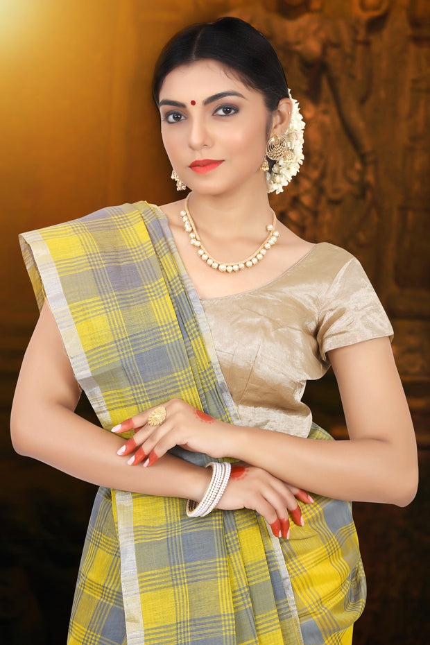 SIGNORAA YELLOW LINEN SAREE-KSL02498 - View 2
