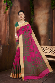 SIGNORAA RANI PINK SILK COTTON SAREE-CCC01438-VIEW 1