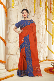 SIGNORAA RED JUTE TUSSAR SILK SAREE-PTS04368 - VIEW 1
