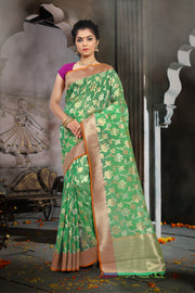 SIGNORAA GREEN BANARASI KOTA SILK SAREE-BSK07892 - View 1