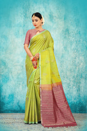 SIGNORAA PARROT GREEN KANCHIPURAM SOFT SILK SAREE-KSL02417-View1