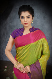 SIGNORAA SHOT GREEN KANCHIPURAM SOFT SILK SAREE-KSL02394 - View 2