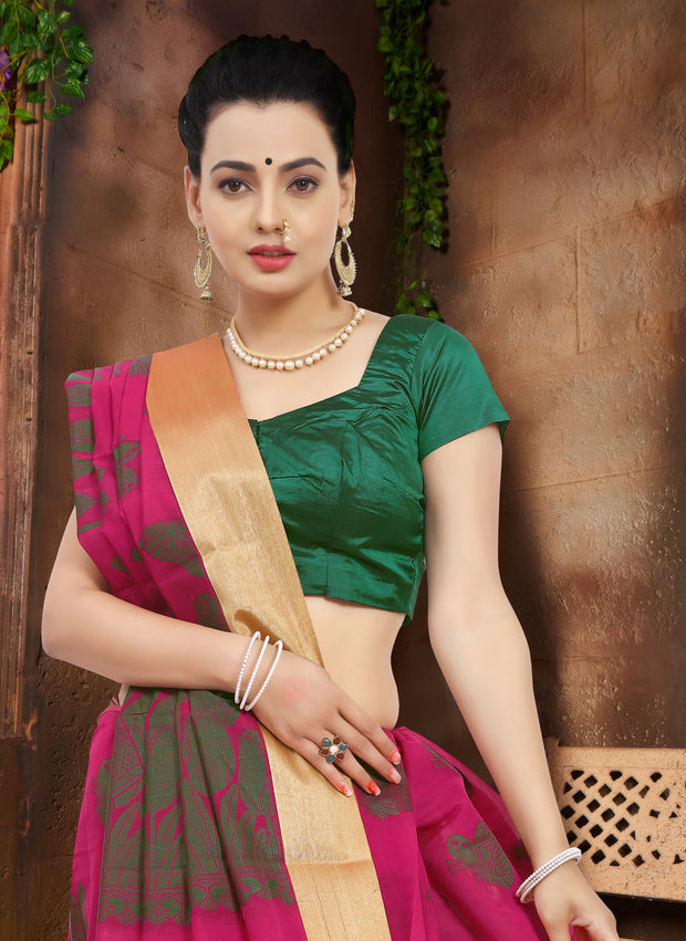 SIGNORAA RANI PINK SILK COTTON SAREE-CCC01438-VIEW 2