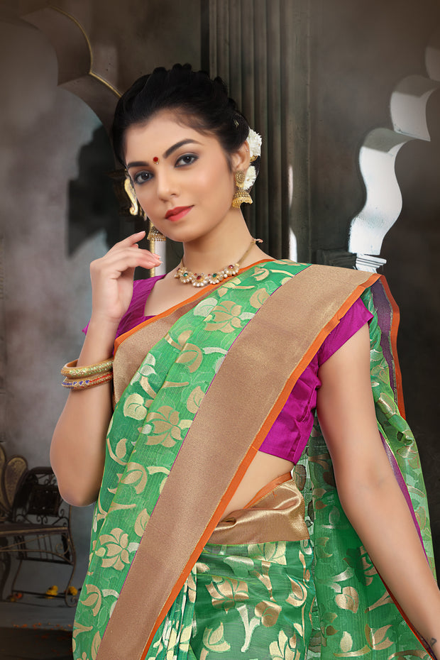 SIGNORAA GREEN BANARASI KOTA SILK SAREE-BSK07892 - View 2