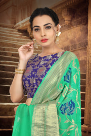 SIGNORAA SEA GREEN BANARASI GEORGETTE SILK SAREE-CHG03285 - VIEW 2