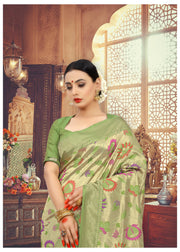 SIGNORAA GREEN BANARASI SILK SAREE-BSK07828 - View 2