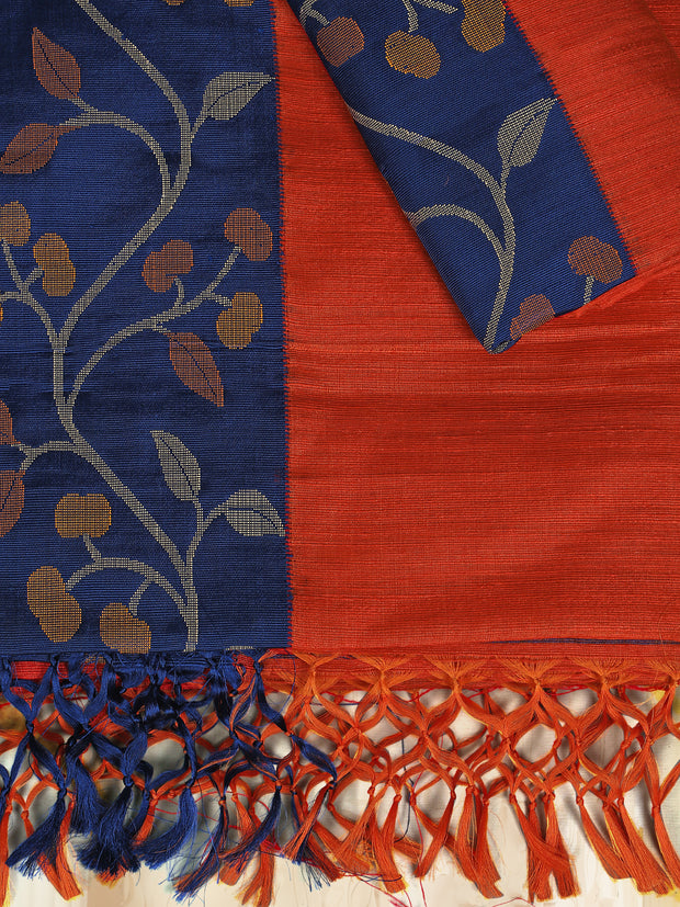 SIGNORAA RED JUTE TUSSAR SILK SAREE-PTS04368 - PRODUCT VIEW