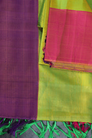 SIGNORAA SHOT GREEN KANCHIPURAM SOFT SILK SAREE-KSL02394 - Product View