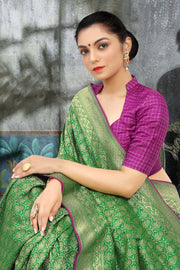 SIGNORAA GREEN BANARASI SILK SAREE-BSK07071 - View 2