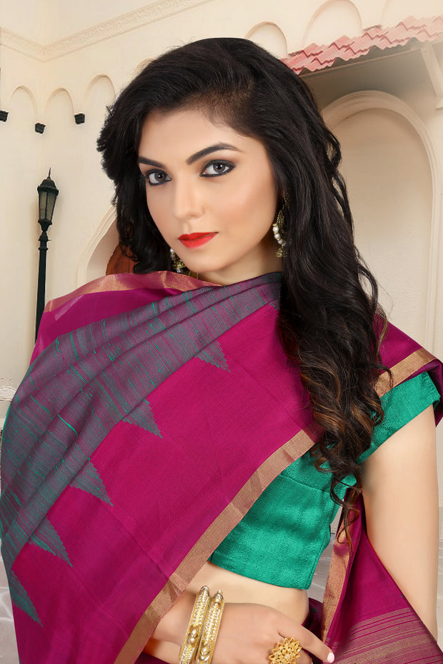SIGNORAA SHOT RANI PINK KANCHIPURAM SOFT SILK SAREE-KSL02521-View 2