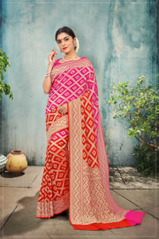 SIGNORAA RED & PINK  BANARASI GEORGETTE SILK SAREE-CHG03159 - VIEW 1
