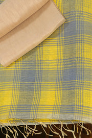 SIGNORAA YELLOW LINEN SAREE-KSL02498 - Product View