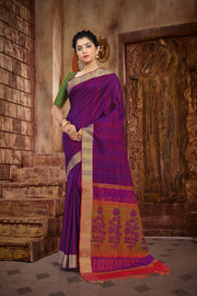 SIGNORAA PURPLE KANCHIPURAM SOFT SILKS SAREE-KSL02464 - View 1