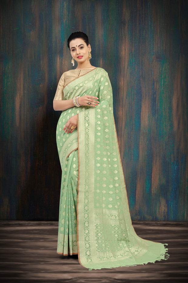 SIGNORAA LIGHT GREEN BANARASI MERCERISED COTTON SAREE-BSK07627 - View 1