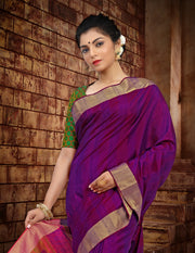 SIGNORAA PURPLE KANCHIPURAM SOFT SILKS SAREE-KSL02464 - View 2