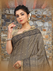 SIGNORAA GREY TUSSAR SILK SAREE-EMB02958 - VIEW 2
