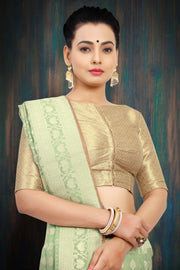 SIGNORAA LIGHT GREEN BANARASI MERCERISED COTTON SAREE-BSK07627 - View 2