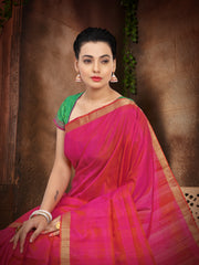 SIGNORAA RANI PINK KANCHIPURAM SOFT SILK SAREE-KSL02440 - View 2
