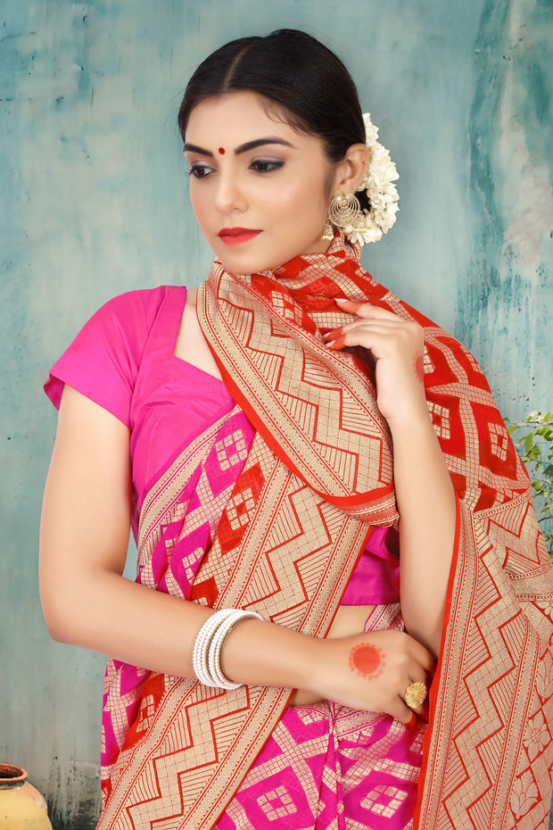 SIGNORAA RED & PINK  BANARASI GEORGETTE SILK SAREE-CHG03159 - VIEW 2
