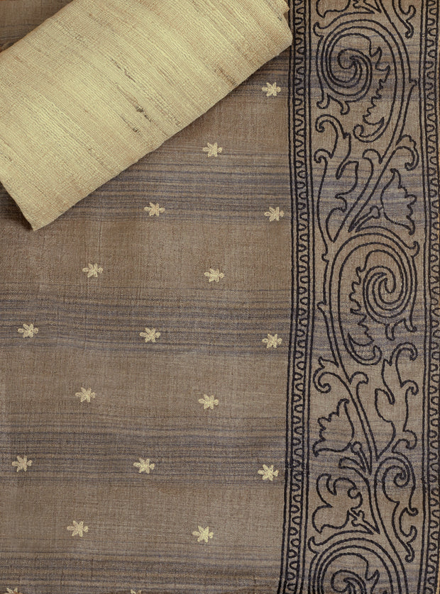 SIGNORAA GREY TUSSAR SILK SAREE-EMB02958 - PRODUCT VIEW