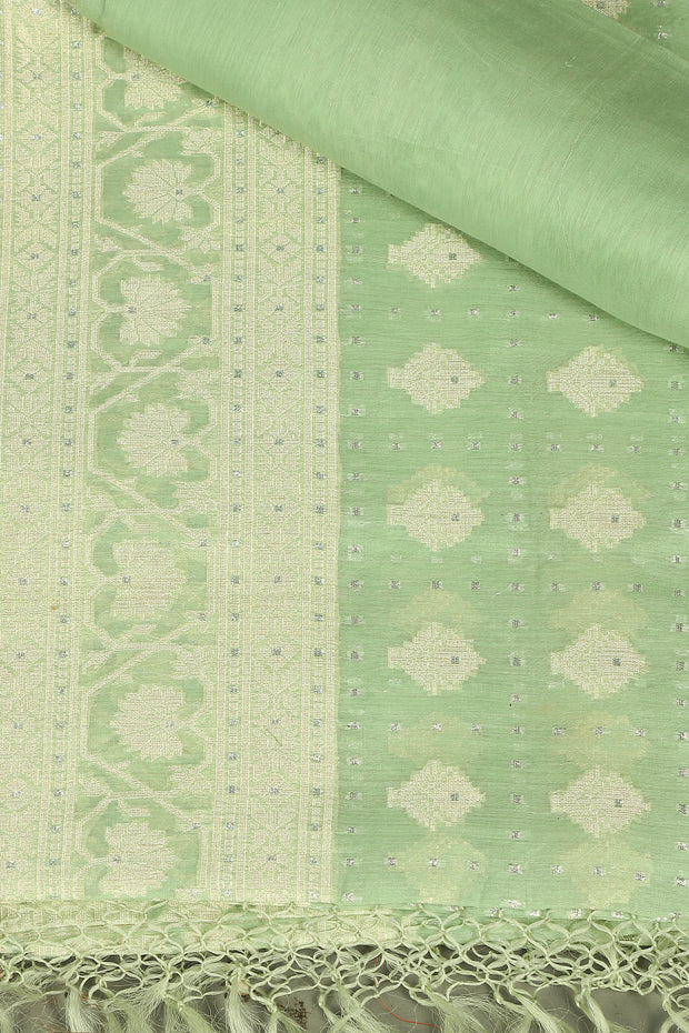 SIGNORAA LIGHT GREEN BANARASI MERCERISED COTTON SAREE-BSK07627 - Product View