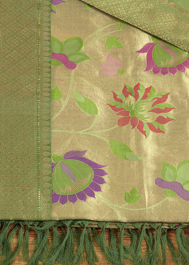 SIGNORAA GREEN BANARASI SILK SAREE-BSK07828 - Product View