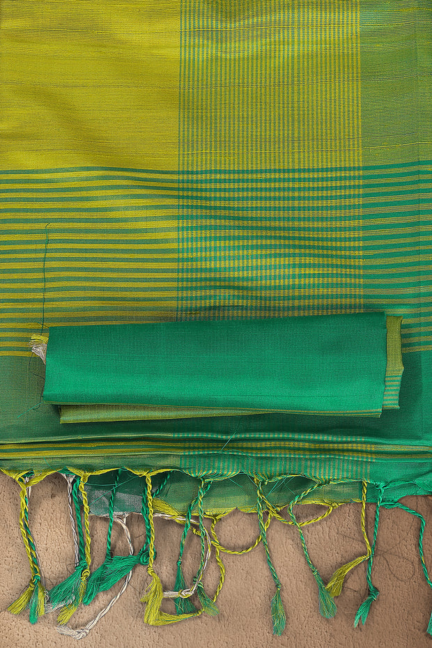 SIGNORAA GREEN KANCHIPURAM SOFT SILK SAREE-KSL02508 - Product View