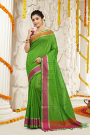 SIGNORAA GREEN DAILY WEAR SEMI TUSSAR SAREE-SASYN05911 - View 1