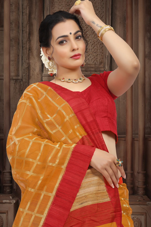 SIGNORAA MUSTARD BANARASI MERCERISED COTTON SAREE-BSK07775-View 2