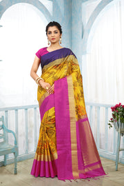 SIGNORAA MUSTARD KANCHIPURAM SOFT SILK SAREE-KSL02486 - View 1