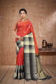 SIGNORAA SHOT RUST KANCHIPURAM SOFT SILK SAREE-KSL02523 A - View 1