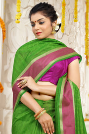 SIGNORAA GREEN DAILY WEAR SEMI TUSSAR SAREE-SASYN05911 - View 2