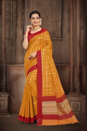 SIGNORAA MUSTARD BANARASI MERCERISED COTTON SAREE-BSK07775-View 1
