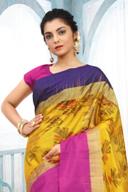 SIGNORAA MUSTARD KANCHIPURAM SOFT SILK SAREE-KSL02486 - View 2