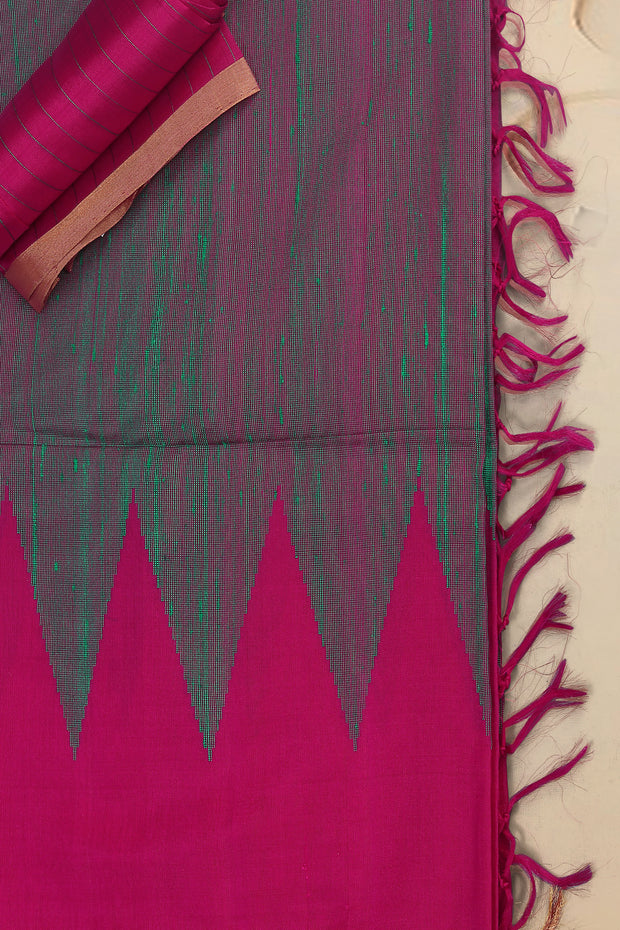 SIGNORAA SHOT RANI PINK KANCHIPURAM SOFT SILK SAREE-KSL02521- Product View