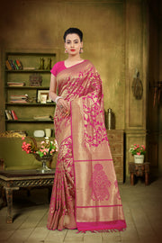 SIGNORAA RANI PINK KANCHIPURAM SOFT SILK SAREE-KSL02491A - View 1