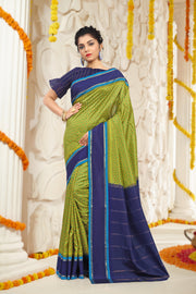 SIGNORAA GREEN PRINTED SILK SAREE-PTS04219A - VIEW 1