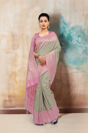SIGNORAA LIGHT GREY BANARASI TUSSAR SILK SAREE-BSK07580 - View 1