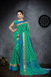 SIGNORAA PEACOCK GREEN PRINTED SILK SAREE-PTS04162 - VIEW 1