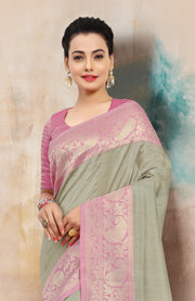 SIGNORAA LIGHT GREY BANARASI TUSSAR SILK SAREE-BSK07580 - View 2